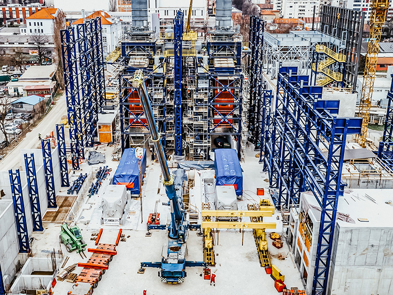 Construction works in progress at elto zagreb power plant